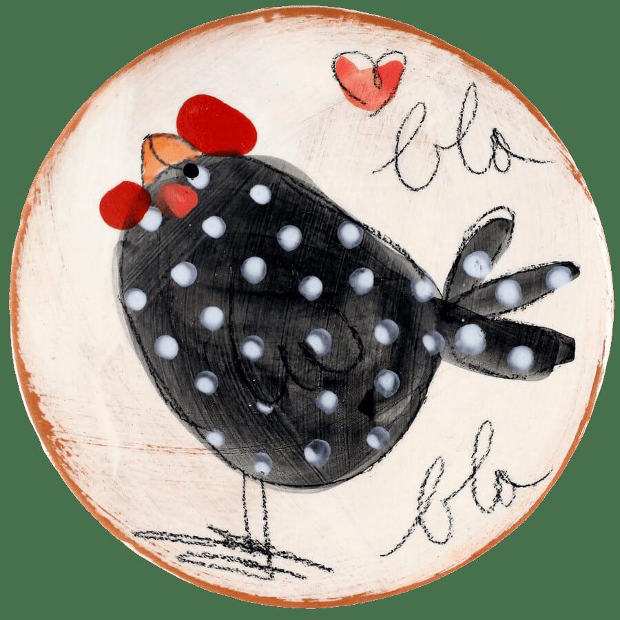 dessous de plat céramique pintade poule blabla