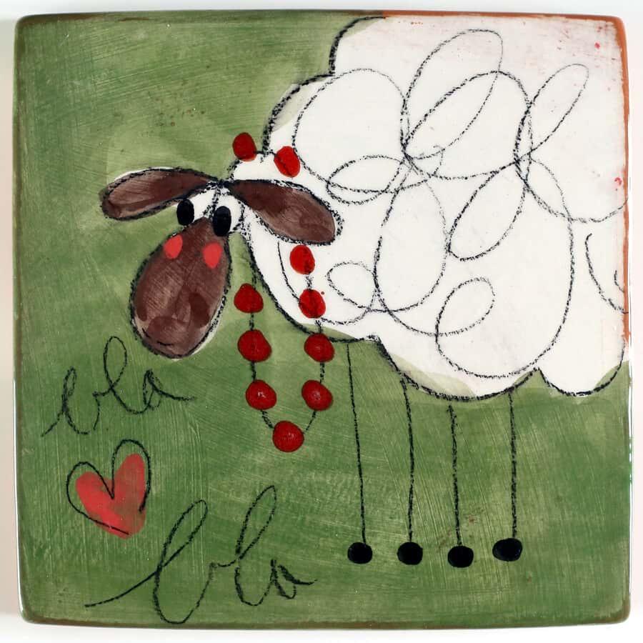 sous plat ceramique mouton vert
