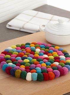 dessous de plat boules laine feutrée